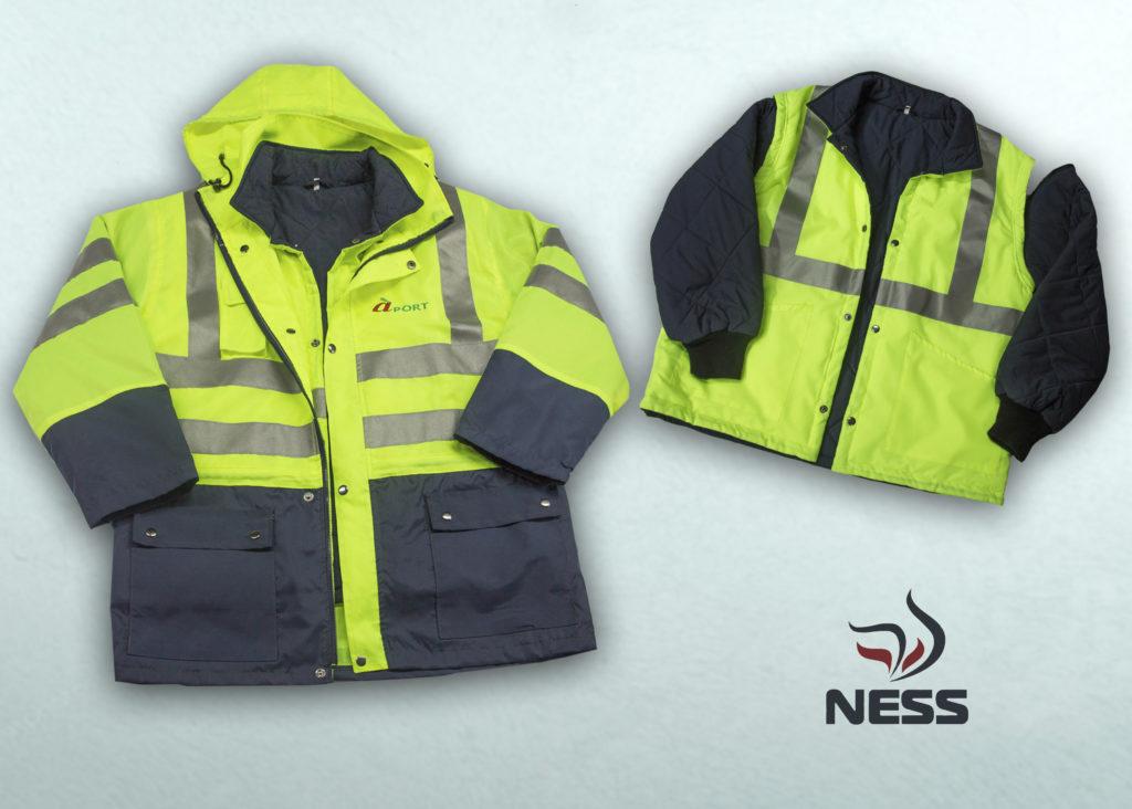Куртка  утепленная 3 в 1 (разработана индивидуально для клиента) Куртка состоит из верхней куртки–ветровки и внутренней утепленной , съемной куртки на кнопках. Рукава внутренней куртки также съемные (на молниях), что позволяет носить ее как  жилет. Очень удобная, многофункциональная модель. Ткань: «Климат 2»  Ткани с покрытиями «Климат» предназначены для изготовления специальной одежды для максимальной защиты от неблагоприятных погодных факторов: благодаря покрытию обеспечивается водоупорность и водонепроницаемость ткани, ветрозащита. Подкладка: полиэстер - 100%  Утеплитель:  Холлофайбер, 100 г/м²